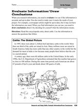 Evaluate Information/Draw Conclusions Worksheet