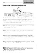 evaluate reference sources 2nd 4th grade worksheet lesson planet. Black Bedroom Furniture Sets. Home Design Ideas