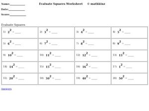 Evaluate Squares Worksheet Worksheet