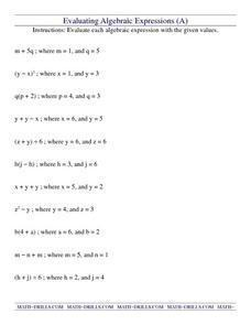 Evaluating Algebraic Expressions (A) Worksheet