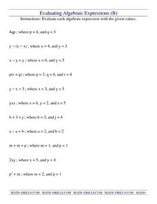 Evaluating Algebraic Expressions (B) Worksheet