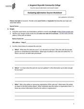 Evaluating Information Sources Worksheet 9th - 10th Grade ...
