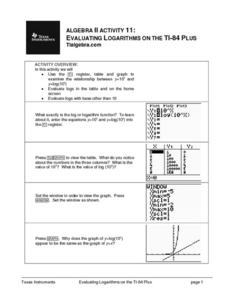 Evaluating Logarithms on the Ti-84 Plus Lesson Plan