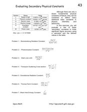 Evaluating Secondary Physical Constants Worksheet