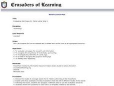 Evaluating Web Pages Dr. Martin Luther King Jr. Lesson Plan