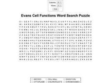 Evans Cell Functions Word Search Puzzle Worksheet