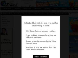 Even Numbers Worksheet