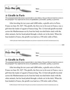 Every Day Edit - A Giraffe in Paris Worksheet