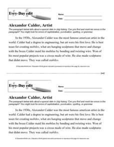 every day edit alexander calder artist 7th 8th grade worksheet lesson planet. Black Bedroom Furniture Sets. Home Design Ideas