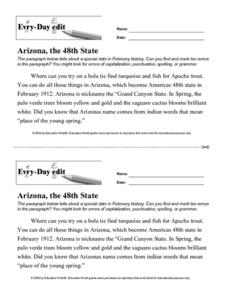 Every Day Edit - Arizona, the 48th State Worksheet
