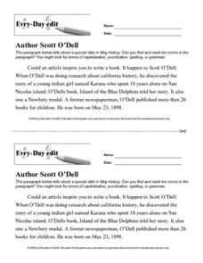 Every Day Edit - Author Scott O'Dell Lesson Plan