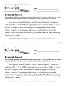 Every Day Edit - Benedict Arnold Worksheet