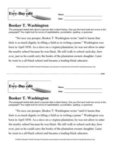 Every Day Edit - Booker T. Washington Worksheet