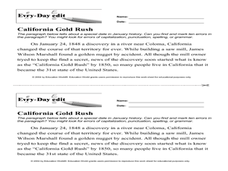 Every Day Edit - California Gold Rush Worksheet