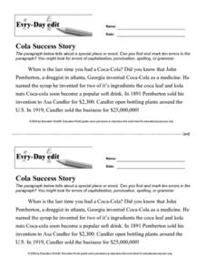 "Every-Day Edit: ""Cola Success Story"" Lesson Plan"