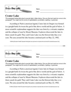 Every Day Edit - Crater Lake Lesson Plan