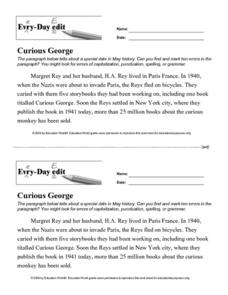 Every Day Edit - Curious George Lesson Plan