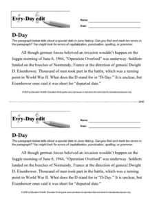 Every Day Edit - D-Day Worksheet