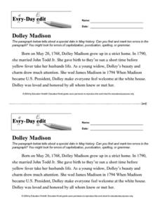 Every Day Edit - Dolley Madison Lesson Plan