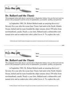 Every Day Edit- Dr. Ballard and the Titanic Lesson Plan