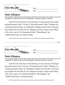 Every Day Edit - Duke Ellington Worksheet