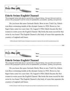 Every Day Edit - Ederle Swims English Channel Worksheet