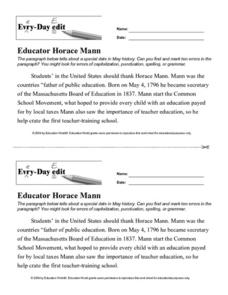 Every Day Edit - Educator Horace Mann Worksheet
