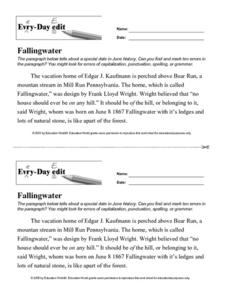 Every Day Edit - Fallingwater Worksheet