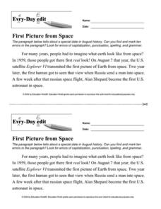 Every Day Edit - First Picture from Space Worksheet