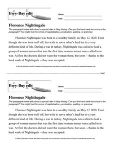 Every Day Edit - Florence Nightingale Worksheet