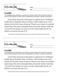 Gandhi Worksheet Worksheets For School - Studioxcess