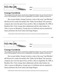 Every Day Edit - George Gershwin Worksheet