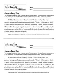 Every Day Edit - Groundhog Day Worksheet