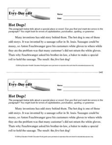 Every-Day Edit: Hot Dogs! Lesson Plan