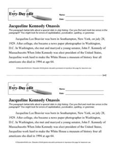 Every Day Edit - Jacqueline Kennedy Onassis Lesson Plan