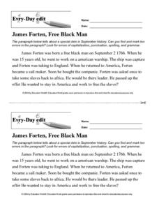 Every Day Edit - James Forten, Free Black Man Worksheet