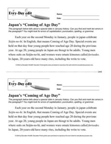 "Every Day Edit - Japan's ""Coming of Age Day"" Worksheet"