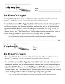 Every Day Edit - Jim Henson's Muppets Worksheet