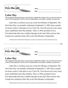 Every Day Edit - Labor Day Lesson Plan