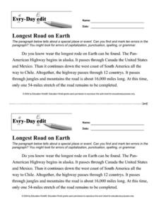 Every-Day Edit: Longest Road on Earth Worksheet