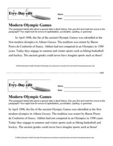 Every Day Edit - Modern Olympic Games Worksheet