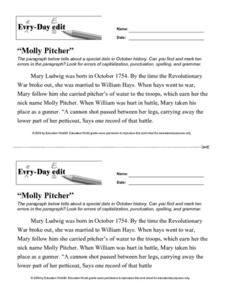 "Every Day Edit - ""Molly Pitcher"" Worksheet"