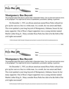 Every Day Edit - Montgomery Bus Boycott Worksheet