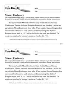 Every Day Edit - Mount Rushmore Worksheet