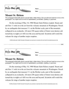 Every Day Edit - Mount St. Helens Lesson Plan