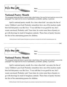 Every Day Edit - National Poetry Month Lesson Plan