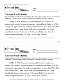 Every Day Edit - National Public Radio Worksheet