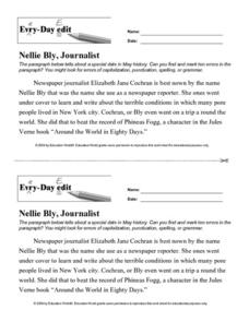 Every Day Edit - Nellie Bly, Journalist Worksheet