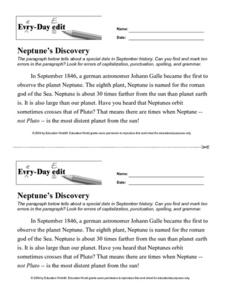 Every Day Edit - Neptune's Discovery Worksheet