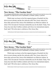 "Every Day Edit - New Jersey ""The Garden State"" Worksheet"